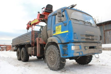 Кран манипулятор вездеход КАМАЗ 43116 12 тонн